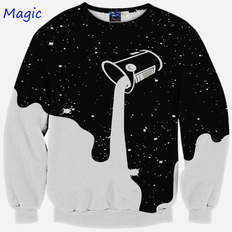 [Magic] 2015 New Fashion 3D Sweatshirt Long Sleeve Cup Pour The Milk Pattern Casual Hoodies Men Women Funny Tops Size S M L XL