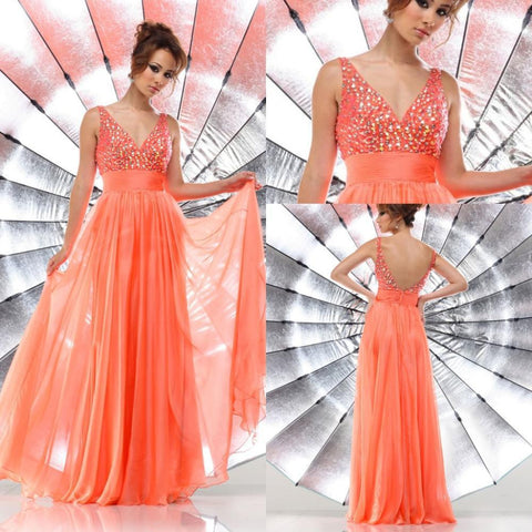 32Inexpensive V-neck Crystals y Open Back Empire Waist Plus Size for Pregnant Women Orange Long Prom Dresses 15 Alternative Measures - Brides & Bridesmaids - Wedding, Bridal, Prom, Formal Gown
