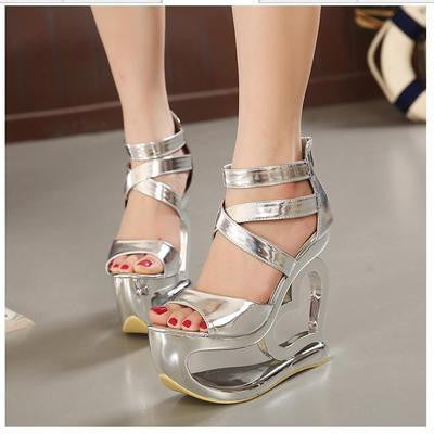 15 cm high heels wedge type hollow out heart Roman sandals package with star performance shoes party dresses