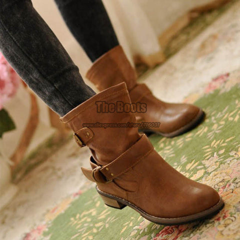 2013 Womens Fashion Black Brown Leather Vintage Low Heel Belt Ankle Horse Riding Boot Motorcycle Boots Winter