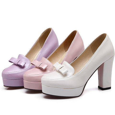 DROPKICKS STOCK ITEM: Best Seller Casual Bow Fashion Sweet Delicate Appealing Princess High Heels New Arrival Concise Female Shoes Imported Goods