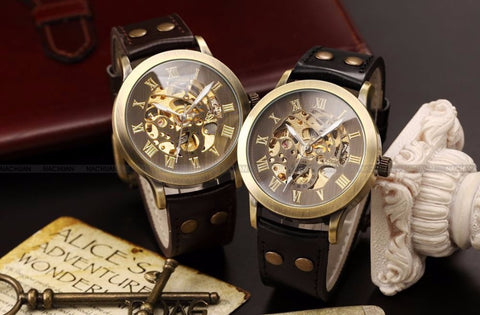 2 Colors Steampunk Skeleton Dial Leather Band Relogio Auto Mechanical Self Winding Men Dress Casual Watch PMW198/199 Alternative Measures - Brides & Bridesmaids - Wedding, Bridal, Prom, Formal Gown