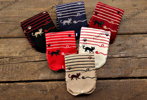 DROPKICKS STOCK ITEM: 6 Candy color Women Striped Cotton Sports Athletic Winter Autumn Cat Play thread roll Foot Prints Knee Socks/Meias/Calcetines