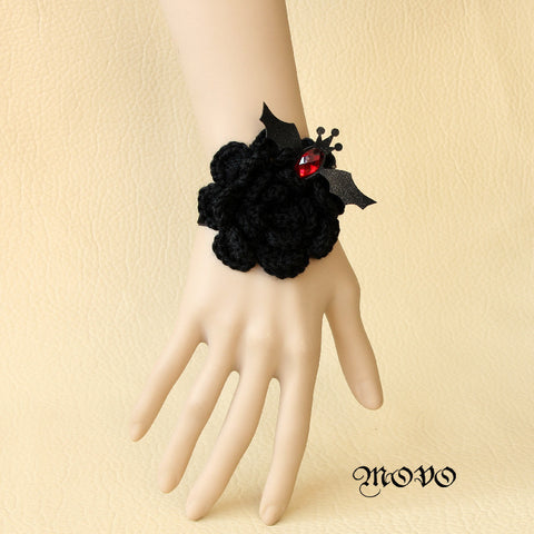 20$ free shipping Princess goths Lolita Wristband vintage bracelet black swan red crystal vampire bat wool flower bracelets
