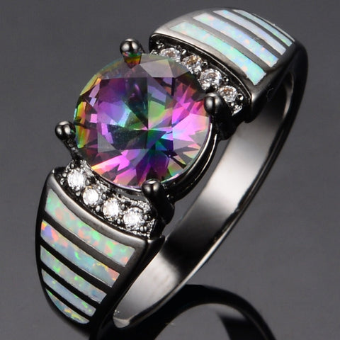 Beautiful & Sweet Engagement Wedding Multi color Finger Ring Women Black Jewelry White Fire Opal 10KT Black Gold Filled Rings Alternative Measures