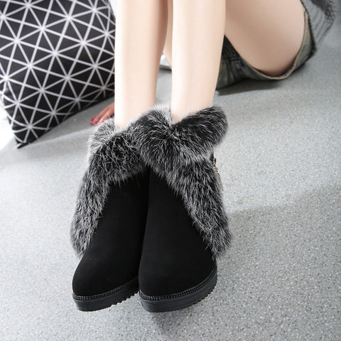35-40 Large Size Shoes Fashion Winter Women Black Wedge Boots With slope Real Rabbit Fur Snow Shoes Woman Ankle Boots For Women