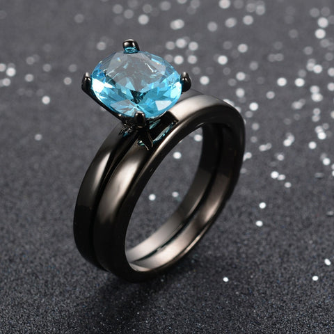 AAA Cubic Zirconia Aquamarine CZ 10KT Black Gold Filled Women Wedding Ring set Jewelry Size 6 7 8 9 10