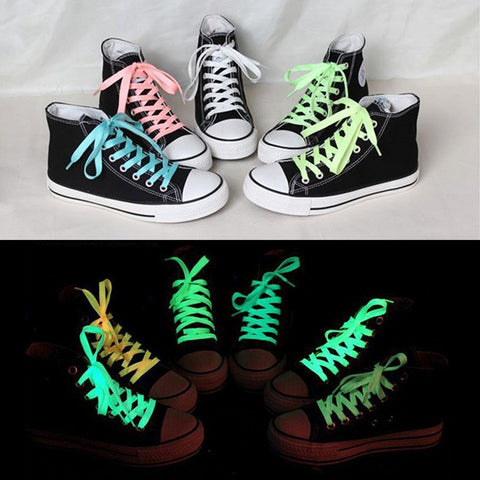 Hot 1pc(Not Pair) 80cm sport luminous shoelace glow in the dark color fluorescent shoelace Athletic Sport flat shoe laces Alternative Measures