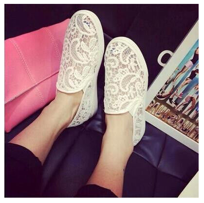 2016 summer new lace openwork crochet lazy canvas shoes help low round flat with flat shoes women