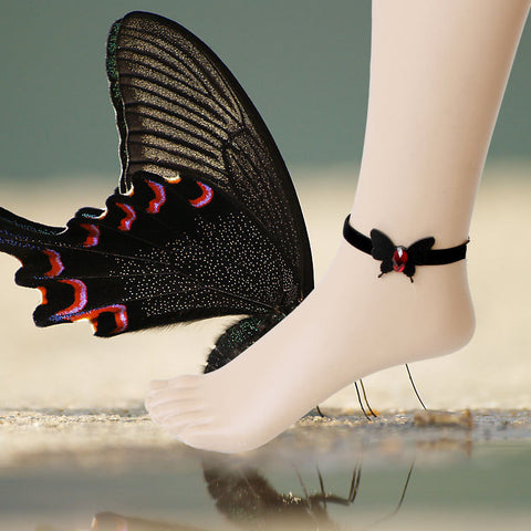 DROPKICKS STOCK ITEM: Evil Lamour Gothic Black Butterfly Ring with women's feet Anklet jewelry