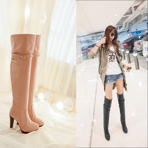 2016 Botines Female Spring Aurumn boots for women over the knee high thigh boots high heel suede boots botas mujer femininas 178