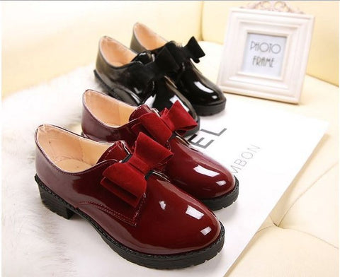 2015 Size 35-39 Women Preppy Style Vintage Round Toe Sweet Bow Lolita Shoes Students Princess Leather Shoes  FF68