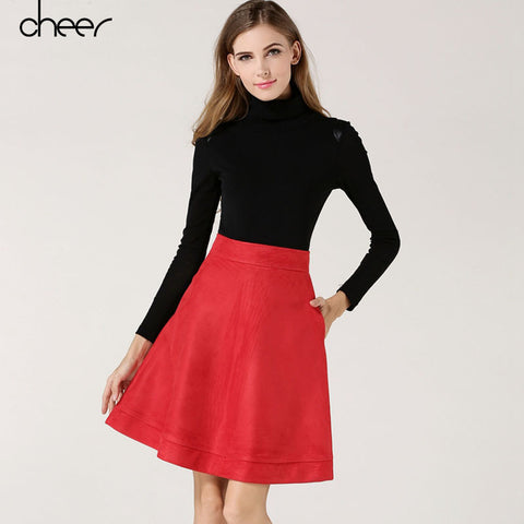 2016 New Arrival Women Fashion Casual Warm Autumn Black Red Grey A Line Suede Skirts Petticoat European And American Style