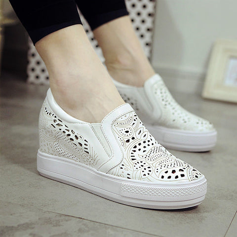2015 Platform Hidden Wedges High Lacing Casual Elevator Shoes Female Genuine Leather Shoes High Wedge flats Women Sport Shoes