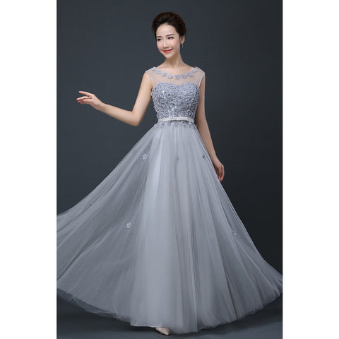 2015 Cheap Plus Size Fairy Long Bridesmaid Dresses Scoop Off the Shoulder Pretty Women Formal Wedding Party Prom Gown Dress Grey