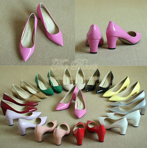 2014 New Brand Women Low Heel Pumps Pointed Toe Prom Silver Hot Pink Nude Patent Leather Blue Green Burgundy Peach Gold Chunky