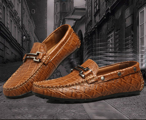 2014 Spring Summer Fashion Men Lofers Crocodile Skin Vein Genuine Leather Shoes Slip On Casual Flats Black Blue Brown Party Prom