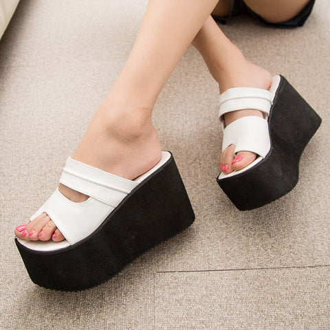 9cm Ultra High Heels Slippers 2016 Summer Women Platform Wedges Woman Shoes Flip Flops Slip on Sandalias Zapatos Mujer