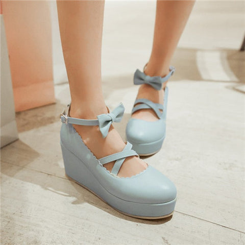 Alluring Bowknot Girls Cross Strappy Lolita Mary Jane Woman Wedge High Heels Round Toe Platform Creepers Sweet Ladies Shoes Alternative Measures