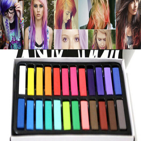 24 Colors Fashion Hair Chalk,Fashion Color Hair Chalk Dye Pastels, Temporary Pastel Hair Extension Dye Chalk, &Hot Crayons Alternative Measures