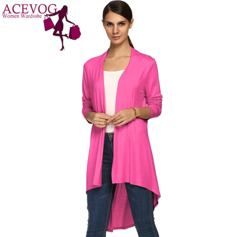 ACEVOG Brand Spring Autumn Long Sweater Women Casual Open Stitch Long Sleeve Asymmetric Hem Loose Knitted Cardigan Coat Female PLUS SIZE