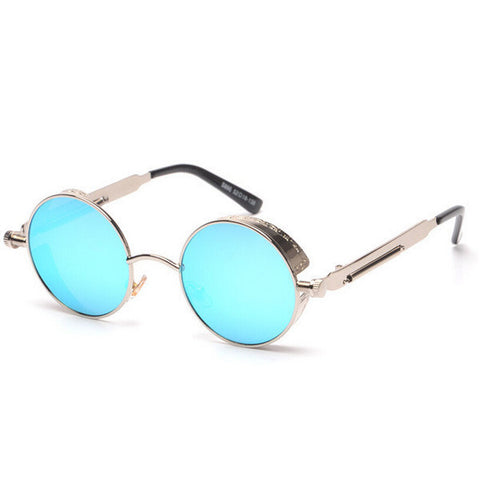 2015 new steampunk round sunglasses women mirrored metal sun shades retro sunnies a298