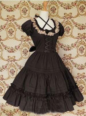Black Fornt Ties Collar Lace Gothic Lolita Dress lolita costumes cosplay halloween christmas Alternative Measures - Brides & Bridesmaids - Wedding, Bridal, Prom, Formal Gown