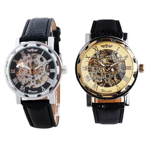 2015 New arrival Classic Steampunk Mechanical Men's quartz wristwatch Black Skeleton Auto Black Silver Case watches men