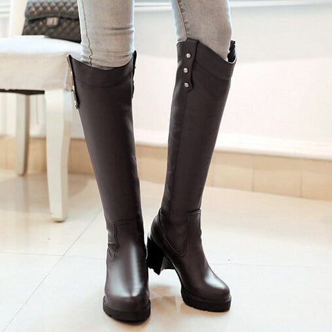 DROPKICKS STOCK ITEM: Fall Winter Buckle Square Heel Suede Knee High Riding Boots Navy Blue Chestnut Black Clearance