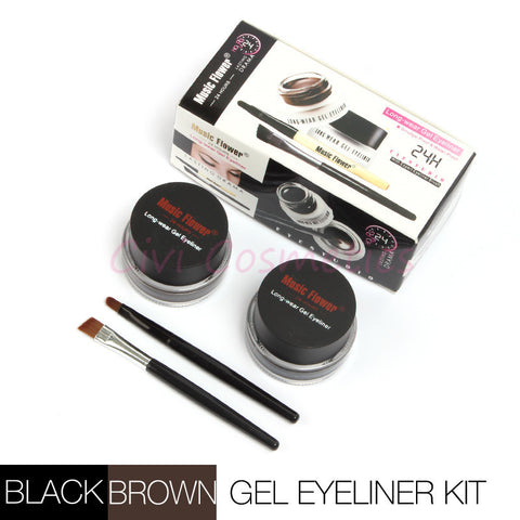 DROPKICKS STOCK ITEM: Best Seller 2 in 1 Brown + Black Gel Eyeliner Make Up Water-proof and Smudge-proof Cosmetics Set Eye Liner Kit in Eye Makeup