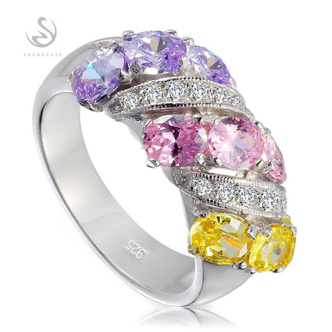 Brand New 925 sterling silver jewelry Best Sellers Charm Purple Yellow Pink CZ Cubic Zirconia Punk rings S--3788GYO sz# 6 7 8 9