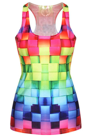 DROPKICKS STOCK ITEM: 3D Cube Print Racerback Vest Tank Top LC25452