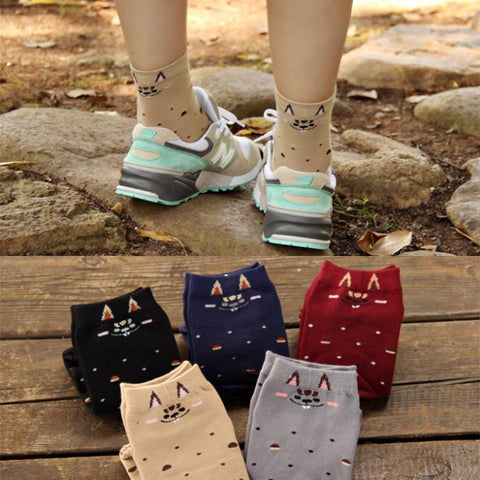 DROPKICKS STOCK ITEM: 6 Candy color Whac-A-Mole Dot Cotton Sports Athletic Cotton Winter Autumn Warm Cute Knee High Women Socks/Meias/Calcetines