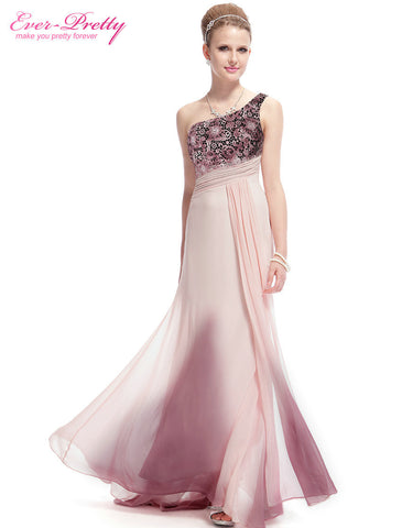 09998 Ever-Pretty New Arrival One Shoulder Lacey Applique Ruched Waist Ombre Pink Party Dress Evening Dresses Alternative Measures - Brides & Bridesmaids - Wedding, Bridal, Prom, Formal Gown