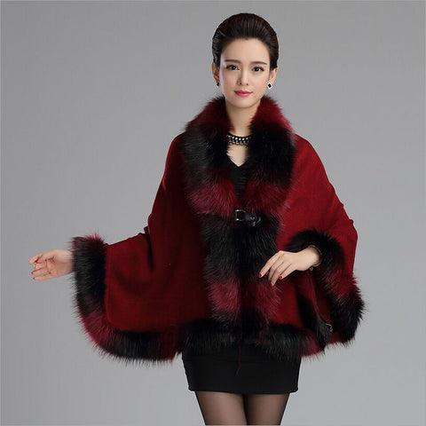 2015 fall winter new Knit fur shawl color mixture faux fur cape poncho Imitation fox collar cardigan fur coat for women Alternative Measures