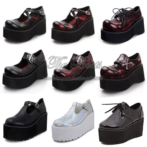 2014 Punk Skull Black Silver Hologram Round Toe Lace Up High Heels Womens Gothic Shoes Creepers Flatform Wedges Platform Pumps