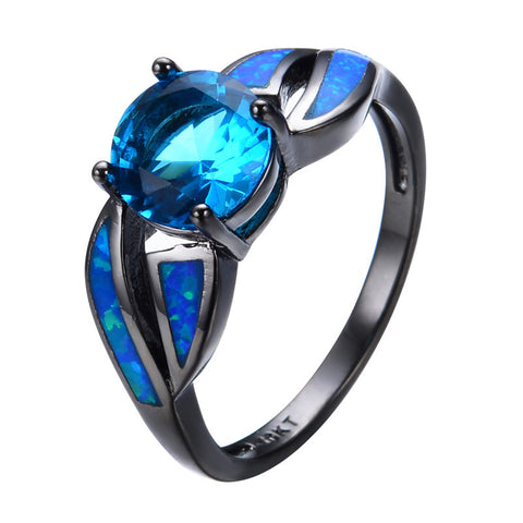 Antique Claw Rings Ocean Blue Fire Opal Stone Aquamarine Sapphire Jewelry Women/Men Engagement Band Black Gold Filled Wedding