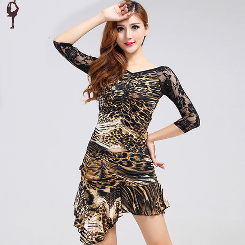 2014 latin dance dress women black/red/leopard vestido leopardo feminino S-XXXXL cha cha dance dress women free shipping