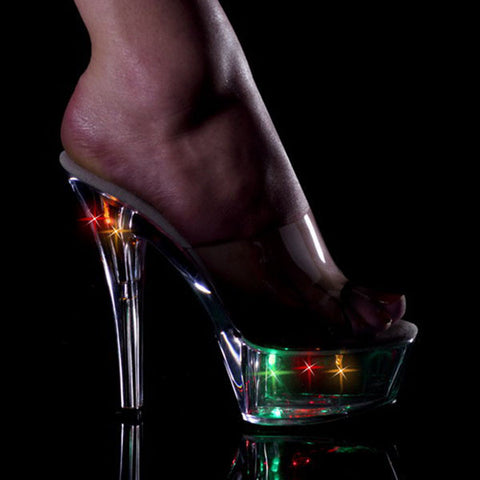15cm sexy high-heeled shoes night light colorful crystal shoes ktv fun shoes dinner party sandals 6 inch nightclub Flash shoes