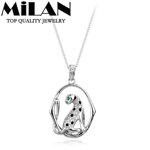 (Min order $15)Wholesale litaina Brand Fashion Jewelry Platinum Plated leopard Crystal Necklace For Women (Milan MJ0414)