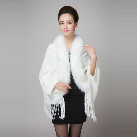 2015 autumn new Printed tassels knitted fur coat shawl Imitation fox fur collar bat sleeve cardigan cape,5 colour