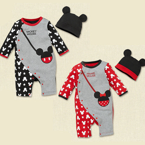 2015 Fashion baby Romper+Hat Mickey Minnie mouse bag printed infant One-pieces Jumpers single breasted kid clothes