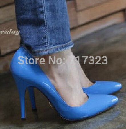 2013 fashion candy color ol women's plus size shoes blue sexy open toe stiletto high heels Free shipping New Arrival HOT
