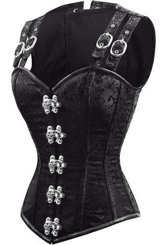 12 Steel Boned Corset Top Waist Training Corsets Gothic Steampunk Corset Bustiers Buckle Shoulder Strap Lace Up Corselet E5414