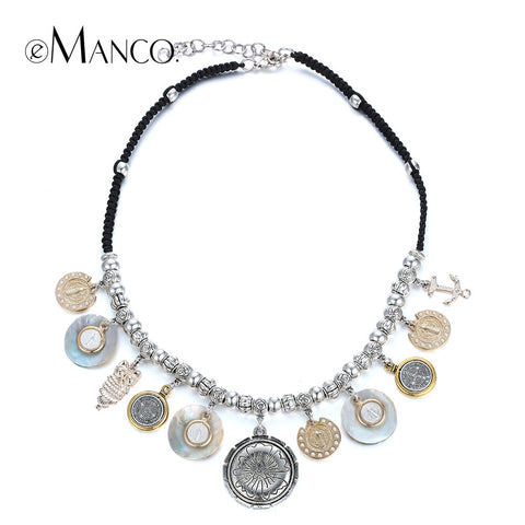 //Silver statement choker necklace geometric pendant// handmade weave rope women ethnic 2015 new arrival necklace eManco NL13119
