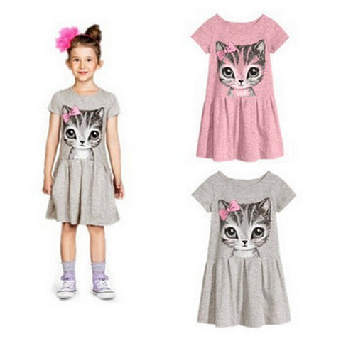 2015 Fashion Kids summer girl dress cat print grey baby girl dress children clothing children dress 3-10years New Arrival Alternative Measures - Brides & Bridesmaids - Wedding, Bridal, Prom, Formal Gown