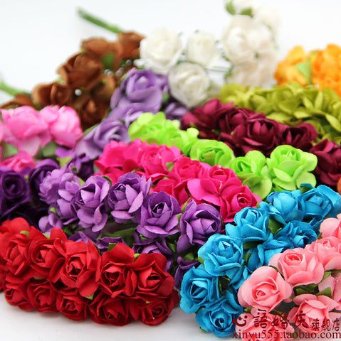 1.5cm DIY  Paper Flowers Mini Rose Flower Hand Made Small Wedding Bouquet Scrapbooking  candy box decoration wedding decoration