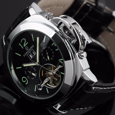 2015 Stainless Steel Sport Watch Tourbillon Automatic Mechanical Steampunk Watches men Casual Clock Silver Relogio Masculino Alternative Measures