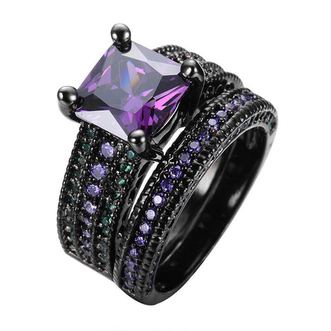 2pcs Amethyst Square Zircon Ring With Emerald Beads Black Gold Filled Couple Rings For Women Men Wedding Jewelry RB0489 Alternative Measures