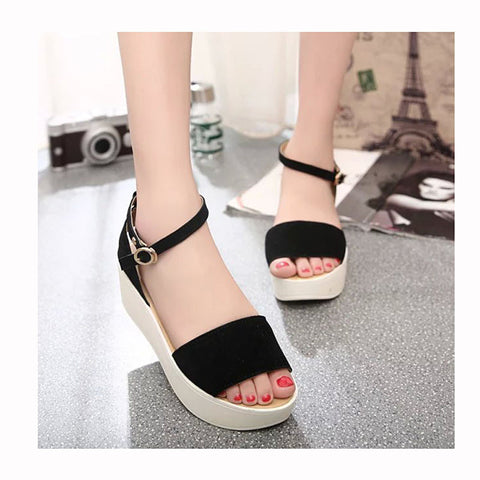 2016 New Fashion Women Sandals Wedges Women Shoes Women Ankle-Wrap Flock Buckle Slip-On Shoes Sandalias Mujer